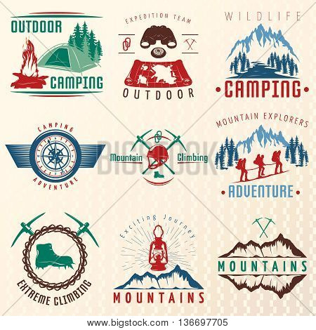 Mountain expeditions colorful emblems with rocks boots ice axe lantern map binoculars climbing team isolated vector illustration