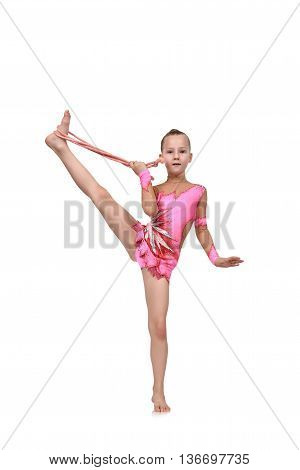 Girl With Skipping Rope Doing Gymnastics