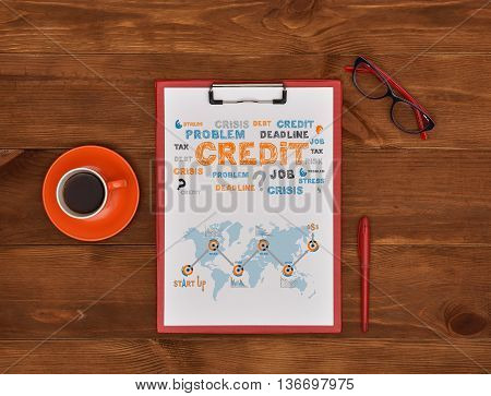 clipboard with drawing operations with financial risks top view