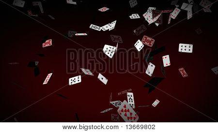 Poker cards Falling