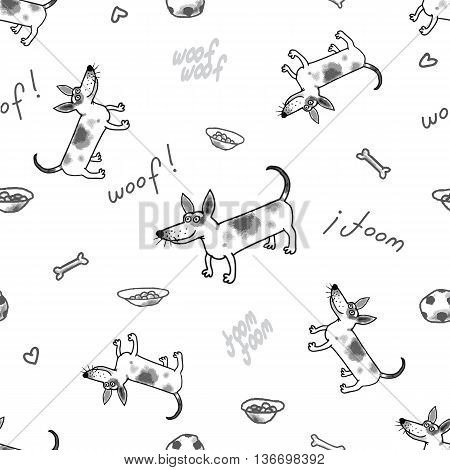 The vector seamless pattern with funny dog. Jack russell terrier.