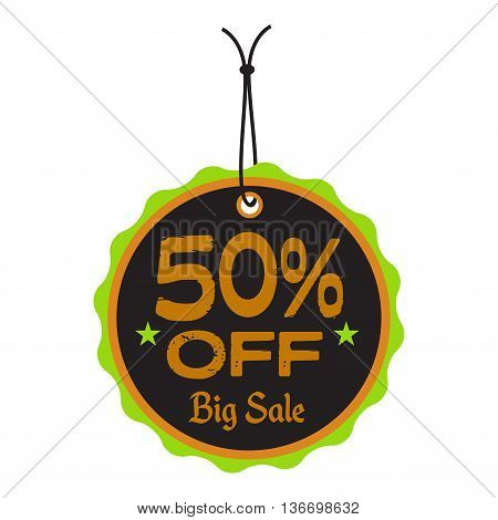 Isolated tag with the text fifty percent off written on the tag