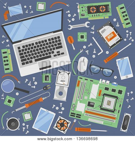 Computer service icon set with tools for repair of computer equipment top view vector illustration