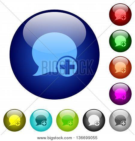 Set of color Post blog comment glass web buttons.
