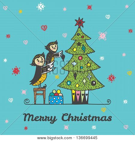 Christmas card with hand drawn owls decorating a Christmas tree. Vector hand drawn illustration of Owl characters on blue background.