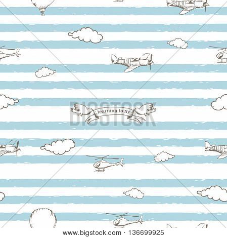 The seamless vector pattern with aircraft and bannerю