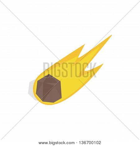 Falling meteor with long tail icon in isometric 3d style on a white background