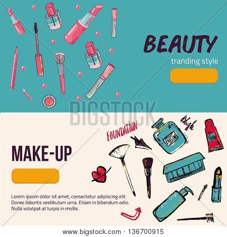 Colorful cosmetic trendy items banner isolated on background in circle. Top view. Make-up illustration
