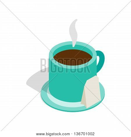 Turquoise cup of tea with teabag icon in isometric 3d style on a white background