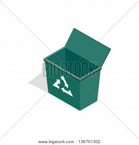 Open garbage container with recycling sign icon in isometric 3d style on a white background