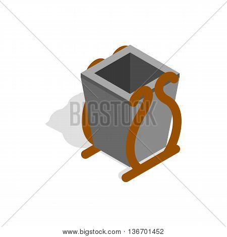 Gray litter bin icon in isometric 3d style on a white background