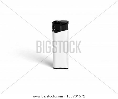 Black-and-white blank gas lighter on a white background