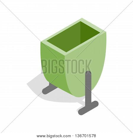 Green trash outdoor bin icon in isometric 3d style on a white background