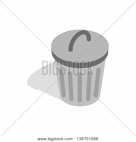Gray trash can icon in isometric 3d style on a white background