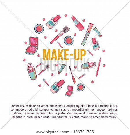 Colorful cosmetic items banner isolated on white background in circle. Top view. Make-up illustration