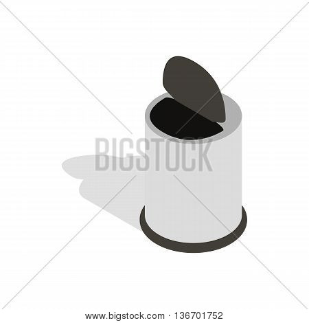 Whitel trash can with pedal icon in isometric 3d style on a white background