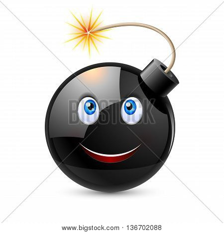 Cartoon bomb with smiling face and blue eyes