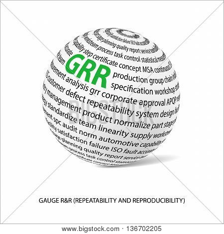 Gauge repeatability and reproducability word ball. White ball with main title GRR and filled by other words related with GRR study. Vector illustration