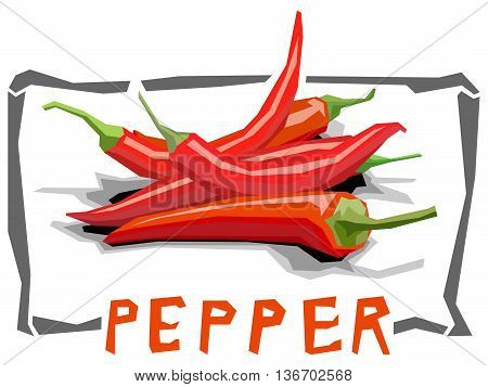 Vector simple illustration of hot peppers in angular cartoon style.