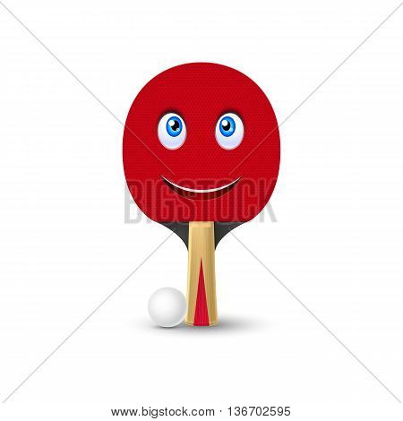 Tennis racket with smiling face and white ball for game