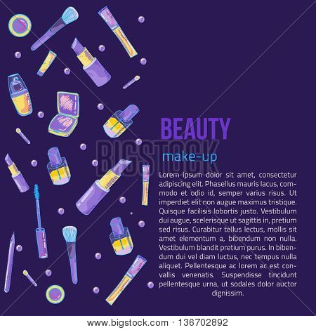 Colorful cosmetic items banner isolated on dark background. Top view. Make-up illustration
