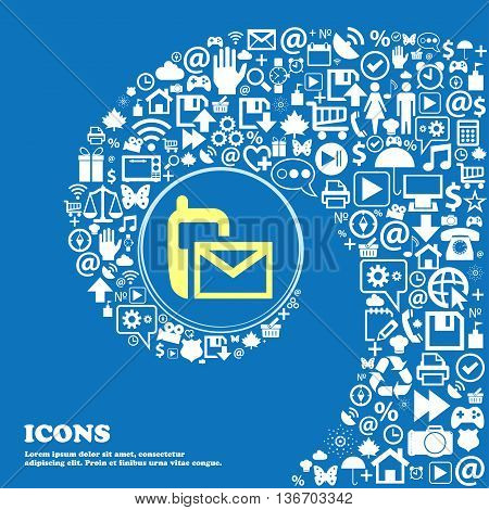 Mail Icon. Envelope Symbol. Message Sms Sign . Nice Set Of Beautiful Icons Twisted Spiral Into The C