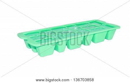 Colorful plastic ice tray isolated on white background.