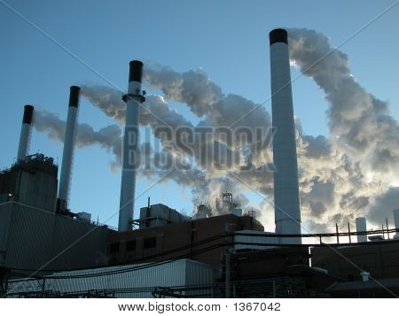 Power Plant Smoking Chimney Stacks