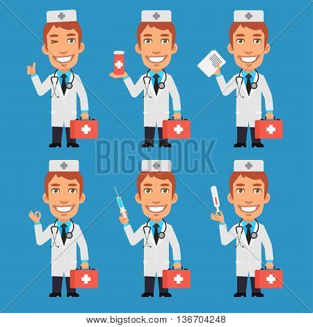 Vector Illustration, Doctor Holds Suitcase Syringe Tablet Thermometer Documents, Format EPS 8