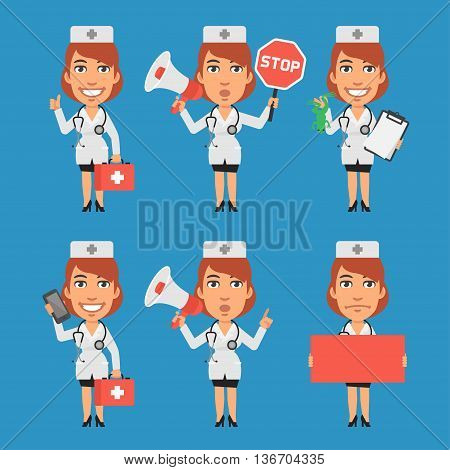 Vector Illustration, Woman Doctor Megaphone Stop Sign Paper Phone, Format EPS 8