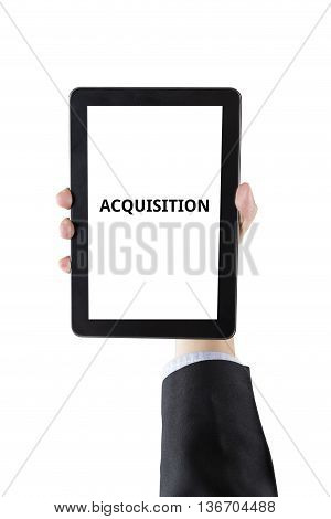 Businessman Hand Holding Digital Tablet With Word Isolated On White Background With Clipping Path