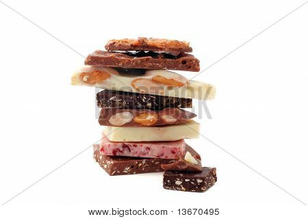 Stack Of Pieces Of Different Chocolate
