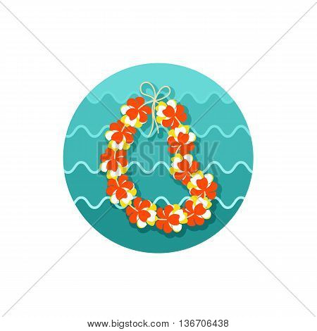 Hawaii flowers necklace wreath icon. Beach. Summer. Summertime. Holiday. Vacation eps 10