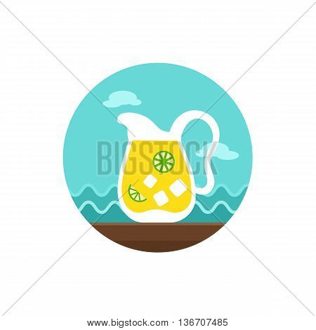 Jug of lemonade with slices of citrus and ice vector icon. Beach. Summer. Summertime. Holiday. Vacation eps 10