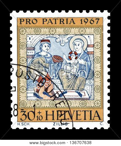 SWITZERLAND - CIRCA 1967 : Cancelled postage stamp printed by Switzerland, that shows Worshiping of the kings.
