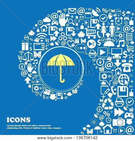 Umbrella Sign Icon. Rain Protection Symbol . Nice Set Of Beautiful Icons Twisted Spiral Into The Cen