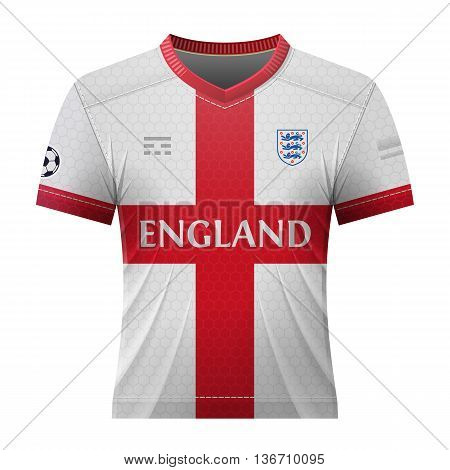 Soccer shirt in english colors. National jersey for football team of England. Qualitative vector illustration about soccer, sport game, football, championship, national team, gameplay, etc