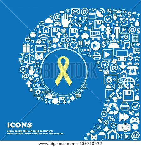 Ribbon, Breast Cancer Awareness Month Icon . Nice Set Of Beautiful Icons Twisted Spiral Into The Cen