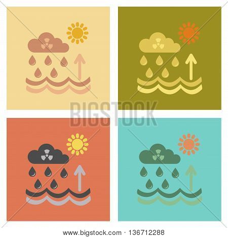 assembly of flat icons nature Radioactive cloud and rain