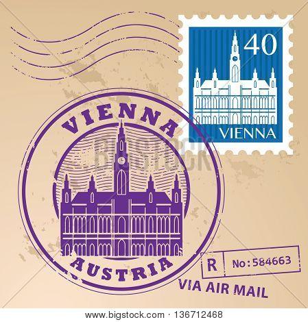 Stamp set with words Vienna, Austria inside, vector illustration