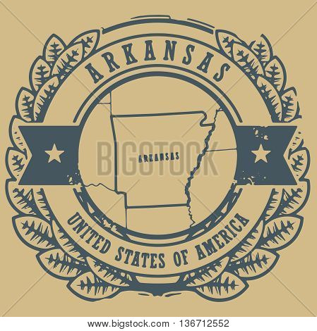 Grunge rubber stamp with name and map of Arkansas, USA, vector illustration