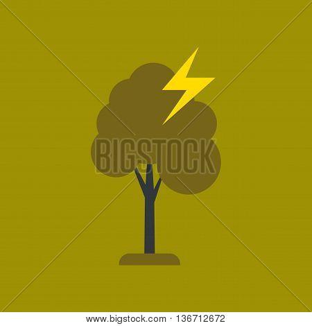 flat icon on stylish background nature lightning tree
