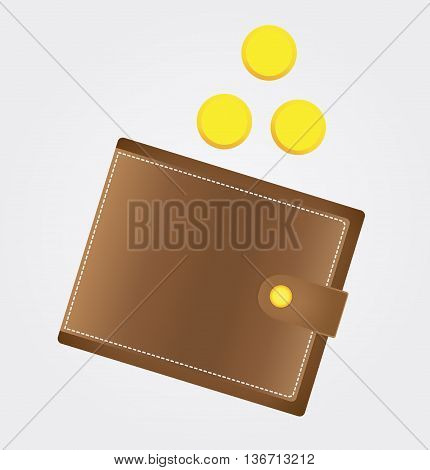 Icon purse with coins. Stock vector illustration.