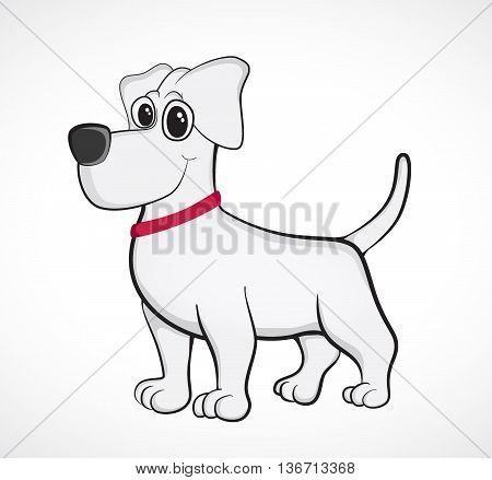 Outlined cute cartoon dog. Vector illustration eps 10