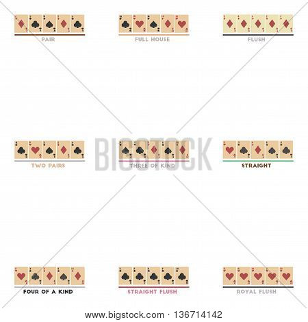 assembly of flat icons casino poker Hands