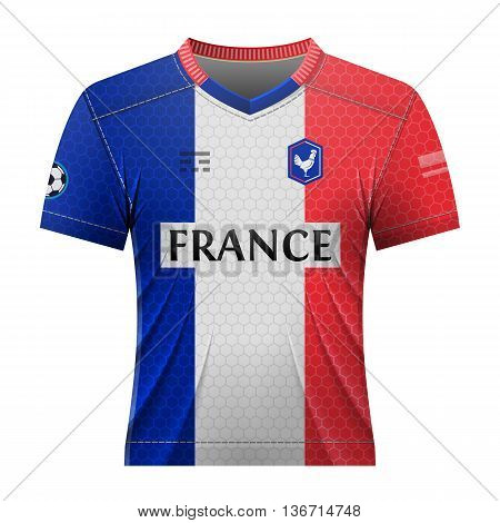 Soccer shirt in french colors. National jersey for football team of France. Qualitative vector illustration about soccer sport game championship national team gameplay etc. It has transparency blending modes gradients