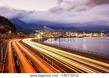 Beppu, Japan overlooking the Oita Expressway.
