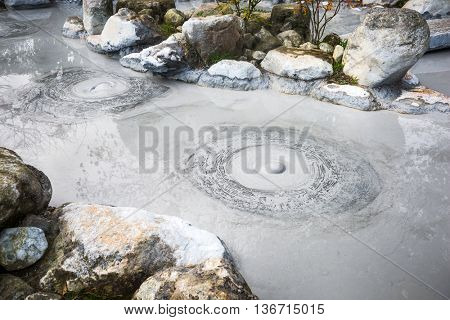 Oniishibozu Hot Springs, one of the Hells of Beppu, Japan.