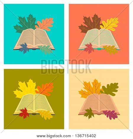 assembly flat icons school open book leaves