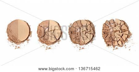 Broken bronze face make up isolated on a white background